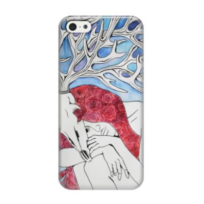 Чехол для iPhone 5/5s Девушка с рогами оленя