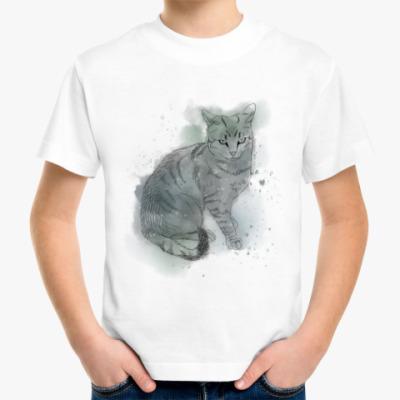 Детская футболка Серый сердитый кот
