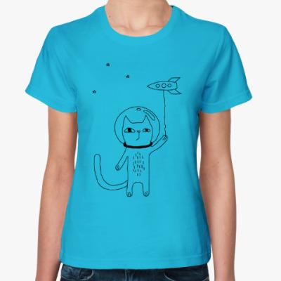 Женская футболка Космический кот