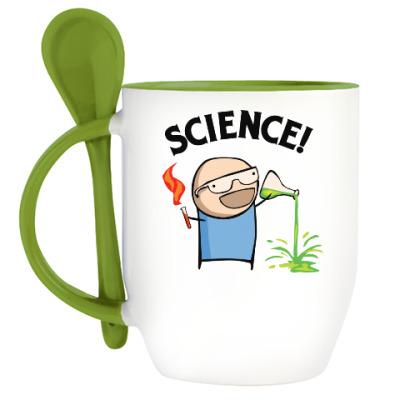 Кружка с ложкой Science! Ботан