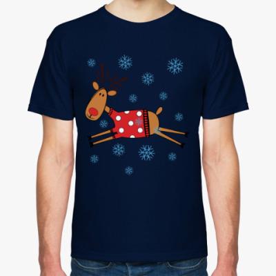 Футболка Новогодний олень в свитере