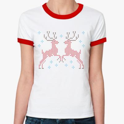 Женская футболка Ringer-T Олени вязаные