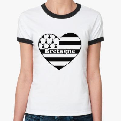 Женская футболка Ringer-T Люблю Бретань