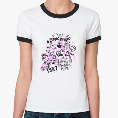 Женская футболка Ringer-T Punk Rock