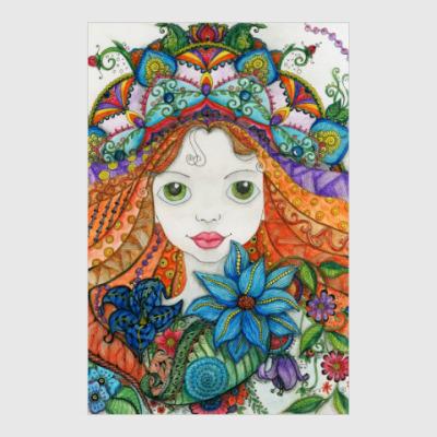 Постер Девочка и цветы