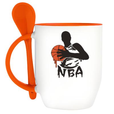 Кружка с ложкой Баскетболист.