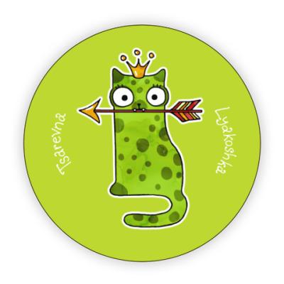 Костер (подставка под кружку) Принцесса Кошка лягушка