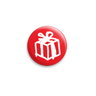 Значок 25мм Новогодний подарок