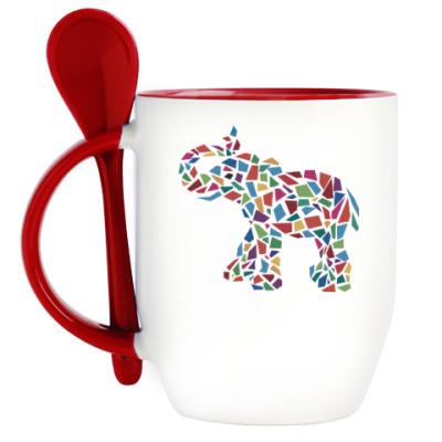 Кружка с ложкой Слон - мозаика