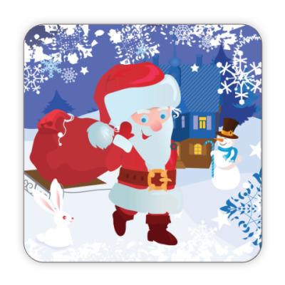 Костер (подставка под кружку) Санта с подарками