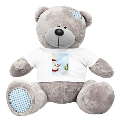 Плюшевый мишка Тедди снеговик
