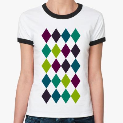 Женская футболка Ringer-T  ромбы