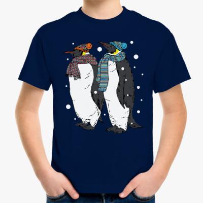 Детская футболка Новогодние пингвины в шапках