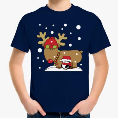 Детская футболка Новогодний олень и пингвин