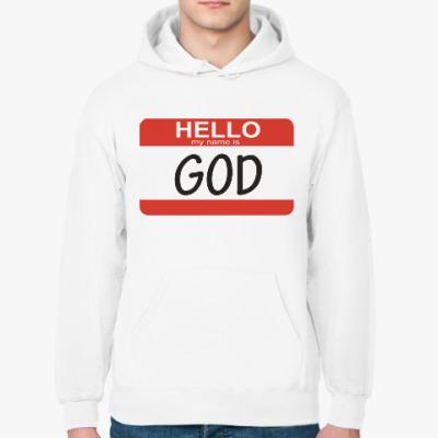 Толстовка худи Hello my name is God