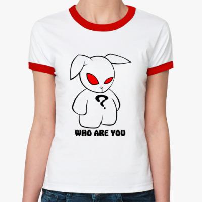 Женская футболка Ringer-T Заяц - кто ты?