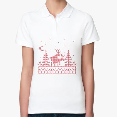 Женская рубашка поло Олени в лесу
