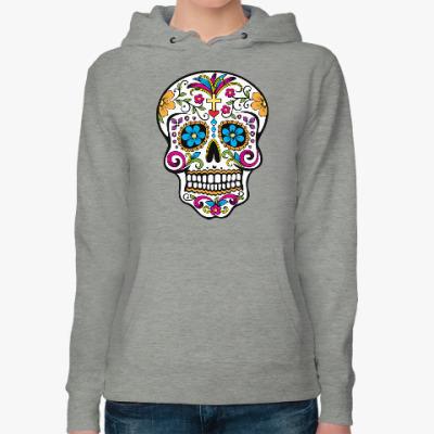 Женская толстовка худи Мексиканский череп Calavera
