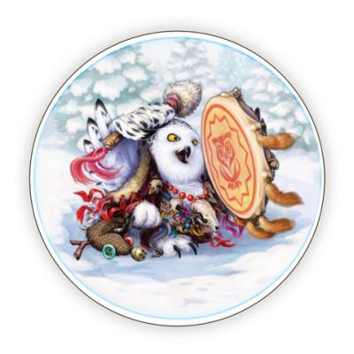 Костер (подставка под кружку) Сова - сибирский шаман