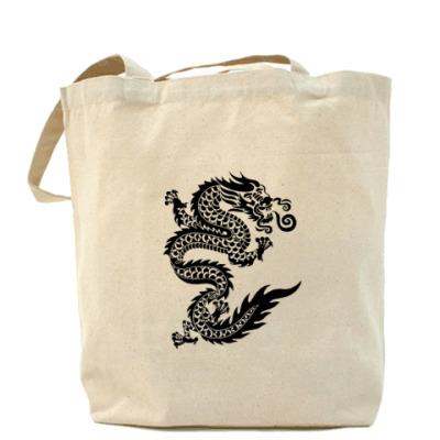 Сумка Холщовая сумка с драконом