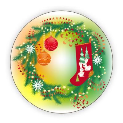 Костер (подставка под кружку) Новогодний венок