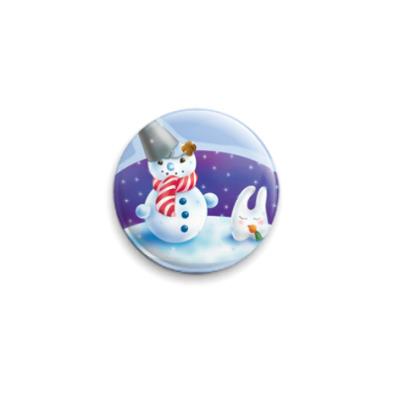 Значок 25мм  Снеговик
