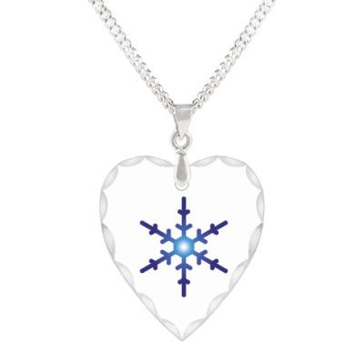 Кулон 'сердце' Новый год Снежинка