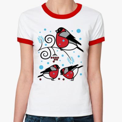 Женская футболка Ringer-T Снегири