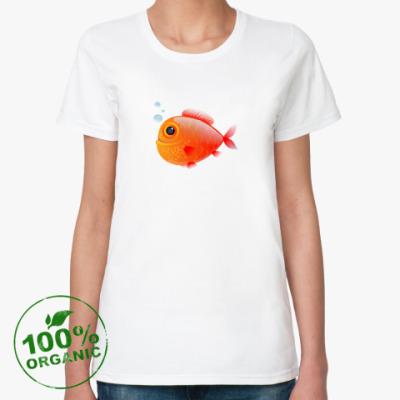 Женская футболка из органик-хлопка Довольная рыба