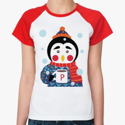 Женская футболка реглан Пингвин с чашкой