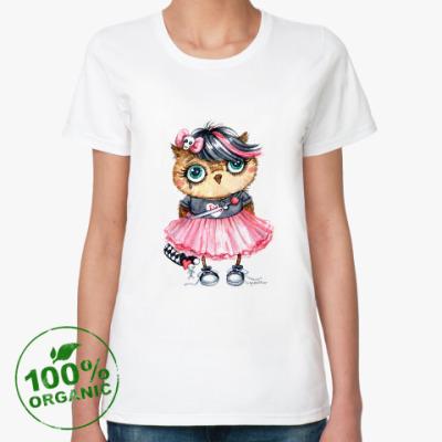 Женская футболка из органик-хлопка Эмо-сова