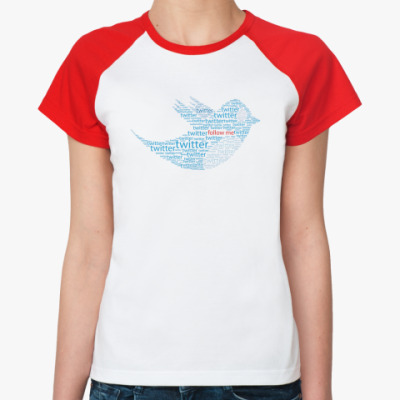Женская футболка реглан Twitter words  Ж (б/к)