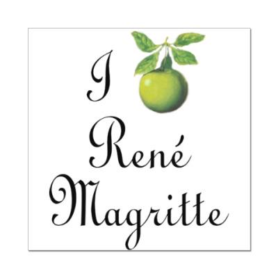 Наклейка (стикер) Я люблю Рене Магритта (яблоко)