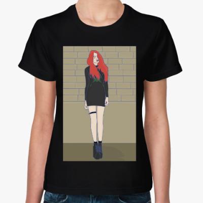 Женская футболка девушка панк