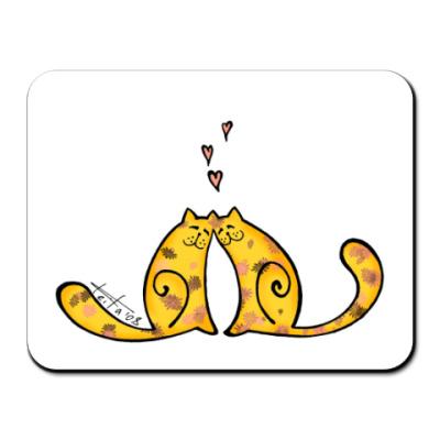 Коврик для мыши Влюблённые коты