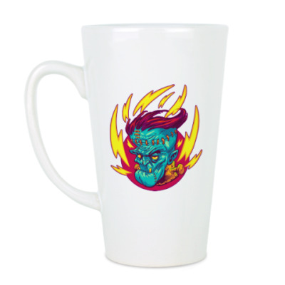 Чашка Латте Франкенштейн в огне