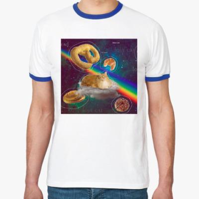 Футболка Ringer-T Космический кот на облаке