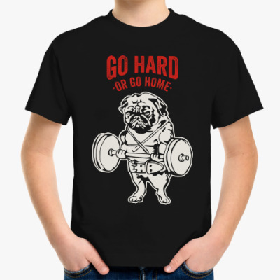 Детская футболка Мопс собака культурист качок