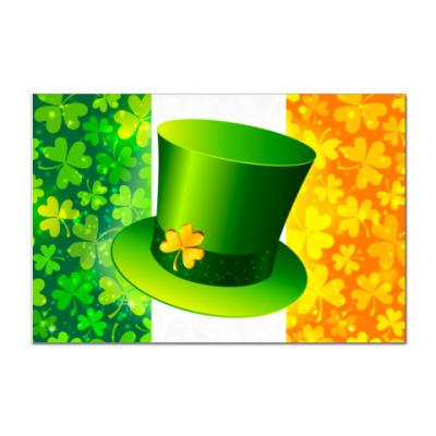 Наклейка (стикер) Зеленая шляпа+ирландский флаг