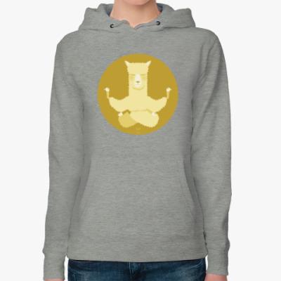 Женская толстовка худи Animal Zen: A is for Alpaca