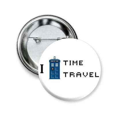 Значок 50мм I love Time Travel