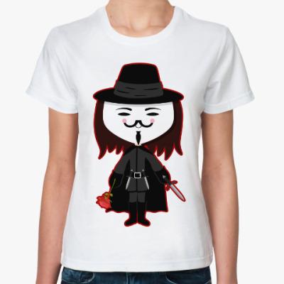 Классическая футболка Анонимус (Маска Гая Фокса)