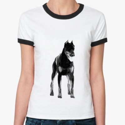 Женская футболка Ringer-T  доберман