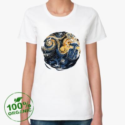 Женская футболка из органик-хлопка Тардис Ван Гог