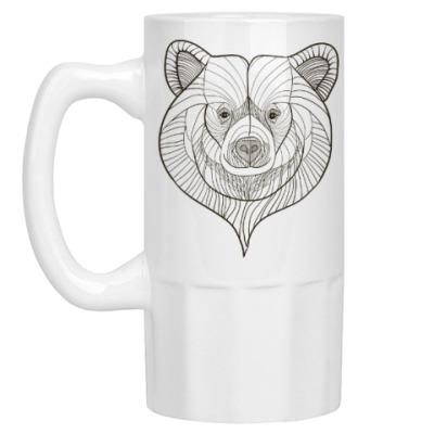 Пивная кружка Голова медведя