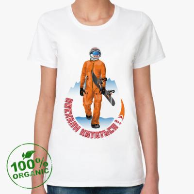 Женская футболка из органик-хлопка Гагарин сноубордист