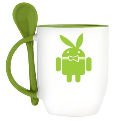 Кружка с ложкой Андроид плейбой