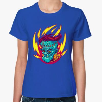 Женская футболка Франкенштейн в огне