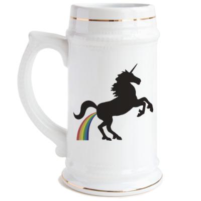 Пивная кружка Единорог и радуга