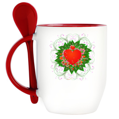 Кружка с ложкой Heart Flower